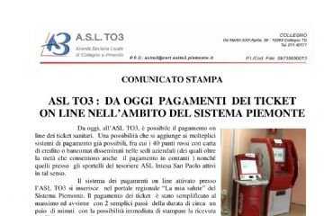 ASL TO3: dal 2019 pagamenti ticket online